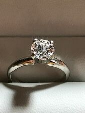 1.09 Carat Round Cut Diamond Engagement Ring D SI2 EGL on 14K White Gold