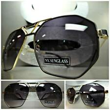 OVERSIZED CLASSIC VINTAGE 70's RETRO Style SUN GLASSES Large Gold & Black Frame