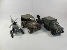LOT VINTAGE 1970s TONKA ARMY DIE-CAST VEHICLES JEEP W/TRAILER HELICOPTER TRUCK
