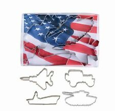 Military Vehicle Boxed Gift Set Cookie Cutters 4 pc Truck Tank  Aircraft Carr