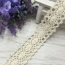 12 Yard Vintage Beige Lace Bridal Wedding Trim Ribbon Craft Cotton Crochet DIY