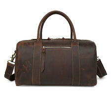"Men's Women's Luggage Duffle Gym Bag Handbag Travel Bag Real Leather 16"" Holdall"