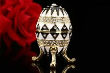 Quality Small Metal Faberge Russian Egg Vintage Easter Trinket Jewellery Box