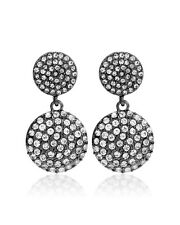 NWT WHITE HOUSE BLACK MARKET HEMATITE CRYSTAL PAVE CIRCLE DROP EARRING ORIG. $35
