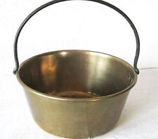 ANTIQUE BRASS POT FIREMAN FIRE MILK BUCKET PAIL OLD CAST IRON HAND FORGED HANDLE