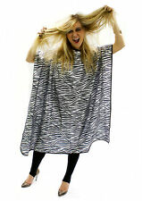 HAIR TOOLS ZEBRA PRINT GOWN WATER REPELLENT WITH ADJUSTABLE HOOK FASTENING