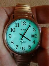 Vtg Timex Indiglo Date wr30m men's watch, cleaned/running, new bat, vtg band H