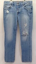 Abercrombie & Fitch Mens 34x32 Distressed Skinny Button Fly Light Wash Jeans