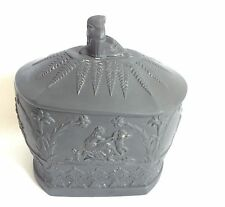 Oblong Wedgwood Black Box and Lid - Wedgwood Basalt Trinket Box
