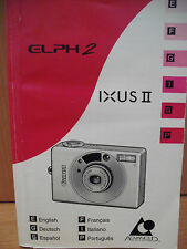 CANON IXUS II~ELPH 2 APS FILM CAMERA INSTRUCTION MANUAL IN 6 LANGUAGES (2MY13)