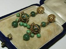RARE,  ANTIQUE, CHINESE, 14 CT GOLD ORNATE EARRINGS WITH FINE NATURAL JADE