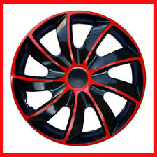 "4 x14"" Wheel trims Wheel covers  fit Fiat  500 Punto Panda   black / red"
