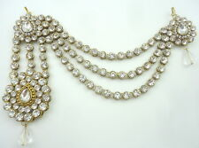 WHITE CRYSTAL CZ GOLD TONE HIJAB JHOOMER PASSA ONE SIDE MATHA PATTI HAIR JEWELRY