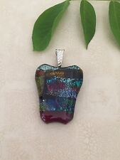 Multi color Handmade Fused Dichroic Art Glass Jewelry Pendant