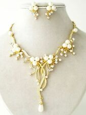 Cream Pearl Austrian Crystal Flower Cascade Necklace Earring Set Bridal