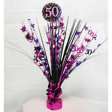 50th Birthday Spray Centrepiece Table Decoration Black Pink Purple Age 50 Party