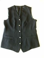 Ladies long WAISTCOAT Size 12 Black Libra Womens Lined HB10