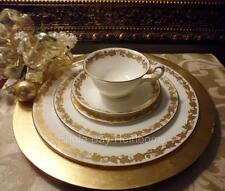 Wedgwood Whitehall #W4001-PLACE SETTING 5 PIECE White Gold Leaves Bone China
