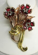 Vintage Gorgeous Pennino Sterling Gold Wash Red Flower Pin Brooch