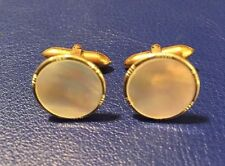 Vintage Cufflinks Mother of Pearl 1939 Antique MOP Oscar Carlson Goldtone