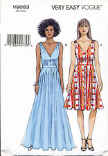 VOGUE SEWING PATTERN 9053 MISSES SZ 14-22 EASY LINED DRESS - FITTED BODICE, MAXI