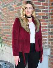 Plus Size Maroon Wool Jacket w Faux Fur Size Jr.  3X
