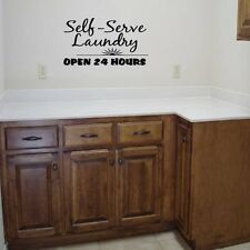 SELF SERVE LAUNDRY Room Lettering Vinyl Words Decal Wall  Sticker Decor Wash Dry
