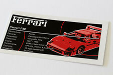 Lego Creator UCS Sticker for Ferrari F40 10248
