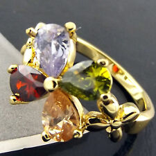 A514 GENUINE REAL 18CT YELLOW G/F GOLD LADIES AMETHYST SPINEL RUBY SAPPHIRE RING