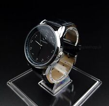 Mercedes Benz Mens Watch Stainless Steel Black Leather Strap