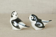 RARE!!! Vintage LOMONOSOV Porcelain PAIR of Snow Bunting Birds