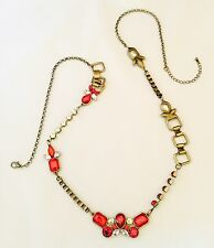 Designer Long Statement Necklace Antique Brass Red & Clear Faceted Stones 11N