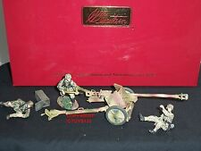 BRITAINS 17659 GERMAN PAK 40 CANNON GUN + METAL TOY SOLDIER FIGURE CREW SET