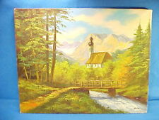 VINTAGE OIL PAINTING RUSSIAN BAROQUE STYLE CHURCH IN MOUNTAINS BY ARTIST AS KUS