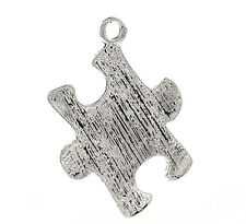 20PCs New Silver Tibetan Puzzle Jigsaw Charm Pendants Jewelry Findings