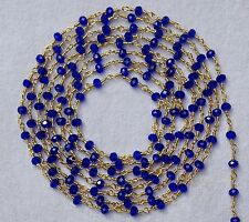 20 Feet Beautiful Lapis Hydro Faceted Bead Rosary Chain Gold Plated For Sale Lot