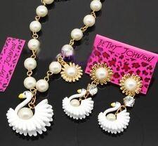 Betsey Johnson faux pearl swan necklace + earrings set,