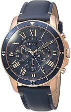 Fossil Men's FS5237 Grant Sport Chronograph Rose Gold-Tone Blue Leather Watch