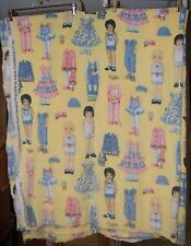 Patty's Paper Doll Fleece Fabric by Patty Reed, Overall print, Daisy, Yellow