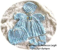 "CROCHET PATTERN for ""PEPPERMINT"" 4pc Baby Dress Set by REBECCA LEIGH-----6/12 M"