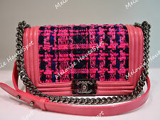 AUTH RUNWAY LIMITED CHANEL FUCHSIA PINK TWEED LE BOY PATENT FLAP MEDIUM BAG BNIB