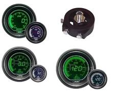 Prosport 52mm EVO Boost PSI + Oil Pressure + Oil Temp White Green Gauges SUBARU