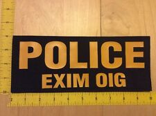 "Police EXIM OIG Patch - 4"" X 10"" On Hook Backing, Yellow On Black (item 1220)"