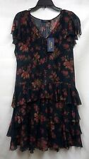 NWT $398 Ralph Lauren Polo Blue Label 100% Silk Navy w/ Floral Lined Dress Sz 8