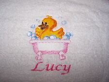 """PERSONALIZED EMBROIDERED CUTE DUCK GIRLS BATH/SWIMMING TOWEL"" 100% COTTON"