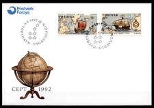 Wiking L.Eriksson und Chr.Kolumbus. Segelschiffe. FDC. Färöer Inseln 1992