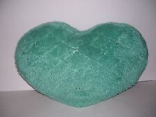 "FAUX FUR HEART SHAPED PILLOW FURRY LARGE 20"" X 13"" THROW PILLOW"