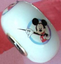 NEW White Disney Murano Lampwork Glass Bead MICKEY MOUSE European Bracelet Charm