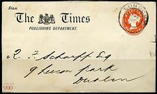 GREAT BRITAIN 1895 HALF PENNY EMBOSSED THE TIMES PUBLISHING  ENVELOPE TO DUBLIN