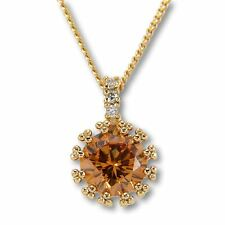 "Womens Necklace 18ct Yellow Gold Filled Champagne Solitaire Pendant 18"" N177"